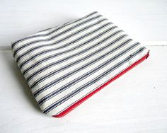 Nautical Red White Blue Ticking Stripe Pouch by belrossa on Etsy. #tjmaxx #maxxexpression