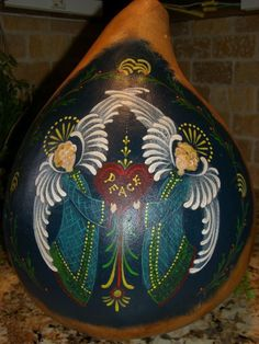 christmas gourd art | Christmas Gourd ANGELS Peace by TheRootCellar on Etsy
