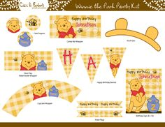 WINNIE THE POOH Birthday Party Printable Set - Cupcake Toppers, Party Banner. bear ears & more - By Cici and Bobo. $25.00, via Etsy.