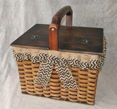Shabby Chic--Large Lidded Picnic Basket