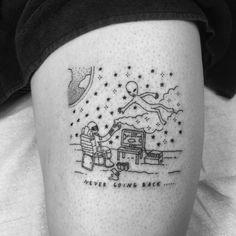 tattoos simple funny sean line tattoo texas quirky drawings artist lines alien humorous uses tatuajes ufo dedos eccentric cool ufunk