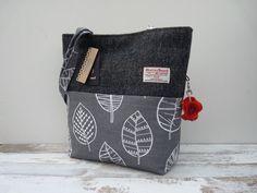 Harris Tweed Handbag Bag Tote, Shopper, Ladies Bag, Charcoal Herringbone Tweed…