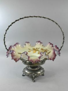 Antique Glass Brides Basket with Purple Scolloped Edge with Silver Holder Victorian Bride, Victorian Art, Vintage Pottery, Pottery Art, Vases, Brides Basket, Antique Glassware, Fenton Glass, Oldies But Goodies