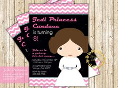 Star Wars Princess Leia Birthday Invitation Girl Star Wars Party Birthday Party Digital Printable Invite by PeachyPrintsShop on Etsy
