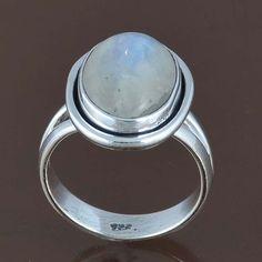 925 STERLING SILVER FANCY LADIS MOONSTONE RING 5.06g DJR8235 SZ-8 #Handmade #Ring