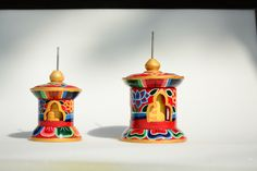 Wooden prayer wheels with mantra inside from Nepal. Colourful and inspiring.