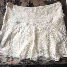NWT Hollister Ivory Lace Boho Skater Skirt Sz M Brand new with tags, Hollister Mini skater lace/ lined skirt. Boho hippie vintage style, trendy & sexy and great for the beach OR nightlife. Size Medium. Tags free people urban outfitters Brandy Melville Anthropologie forever 21 Nasty Gal UNIF Asos  haute hippie Hollister Skirts