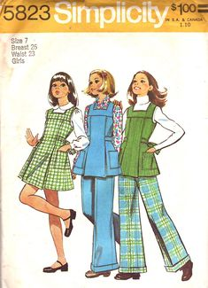 Vintage Sewing Pattern Simplicity 5823 Girls Jumper or Tunic & Pants Pattern Size 14 Uncut by SewYesterdayPatterns on Etsy Sewing Patterns For Kids, Simplicity Sewing Patterns, Vintage Sewing Patterns, Clothing Patterns, Dress Patterns, Doll Patterns, 70s Fashion, Girl Fashion, Vintage Fashion