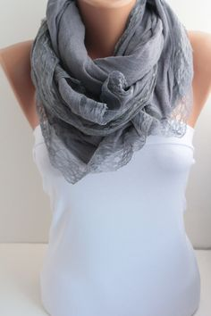 Mid Grey Scarf  Long Scarf Oversized Lace Scarf Fall by DIDUCI