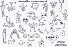 Monster doodles...and the site is GREAT for basic art ideas for kids...