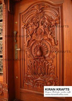 Carved Main Door: Wooden doors by Kiran Enterprises Indian Main Door Designs, Latest Door Designs, Single Main Door Designs, House Main Door Design, Wooden Front Door Design, Double Door Design, Pooja Room Door Design, Wooden Front Doors, Door Design Interior