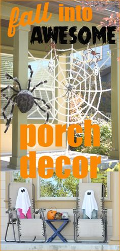 Paige's Party Ideas » DIY Fall Porch Decor.  Cool and spooky Halloween front porch decorations.  Funny skeletons, ghosts, doors and more.