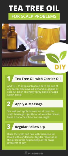 Tea Tree Oil for Scalp Problems Method – 1: (Tea Tree Oil with Carrier Oil) This process is used to treat almost all the scalp problems like dry scalp, itchy scalp, dandruff, scalp psoriasis, oily scalp, flaky scalp, scalp ringworm, scalp eczema, scalp fu
