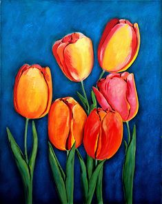 Ozgul Tuzcu artwork Tulips for sale and offering more original artworks in Painting medium and Floral theme.