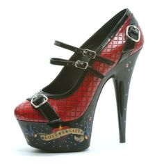 521e248b6bbf Penthouse Shoes - Red Quilted Platform Shoes with 6 Stiletto Heel and  Tattoo Print Love Hate