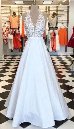 Sexy V Neck Halter White Long Prom Dresses #prom #promdress #dress #eveningdress #evening #fashion #love #shopping #art #dress #women #mermaid #SEXY #SexyGirl #PromDresses