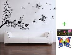 Home removable recycling wall sticker decals black tree black butterfly with white flowers by HL, http://www.amazon.com/dp/B0091SVJT8/ref=cm_sw_r_pi_dp_daCsrb0A7WJQQ