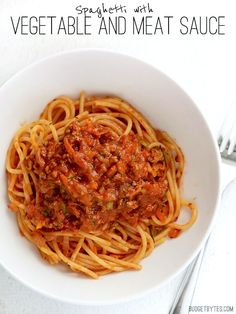 Spaghetti with Vegetable and Meat Sauce - Budget Bytes