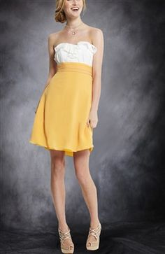 Chiffon White & Yellows A-line Strapless Knee-length Sweetheart Bridesmaid Dresses - Bridesmaid Dresses - OuterInner.com
