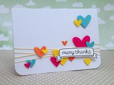 many thanks, with lots of hearts and a bit of twine