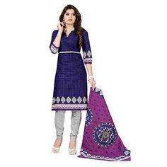 Dertaste Premium Cotton Unstiched Navy Blue Box style Multicolor Salwar Kurta Duptta Set