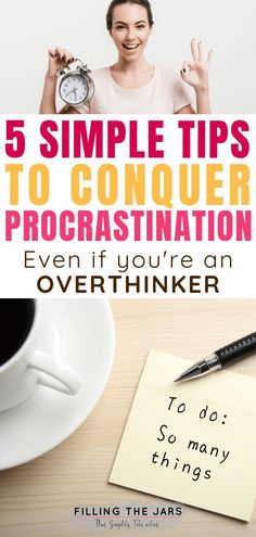 Wondering how to increase motivation and tackle procrastination? Check out these simple tips for overwhelmed overthinkers > the second one may surprise you! How To Stop Procrastinating, Thing 1, Time Management Tips, Work Life Balance, Achieve Your Goals, Setting Goals, Feeling Overwhelmed, Working Moms, Motivate Yourself