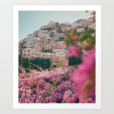 Positano, Italy Travel Photography with Pink Flowers Art Print by My Beloved Printables - X-Small Positano Italy, Italy Travel, Pink Flowers, City Photo, Travel Photography, Printables, Art Prints, Positano, Art Impressions