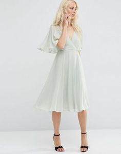 ASOS Wrap Front Midi Dress with Angel Sleeve