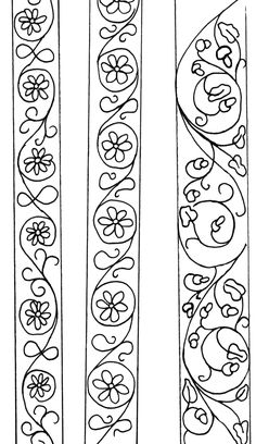 Embroidery Patterns vertical scrolls - try with ivy type leaf Medieval Embroidery, Beaded Embroidery, Embroidery Patterns, Hand Embroidery, Machine Embroidery, Flower Embroidery, Blackwork Embroidery, Cross Stitch Embroidery, Doodle Borders