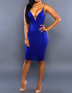 Sexy Plunge Blue Party Clubwear Backless Knot Midi Bodycon Slip Dress