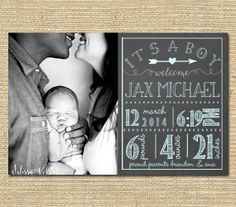 Baby Boy Birth Announcement  Printable Birth door PinkSangriaDesigns, $10.00