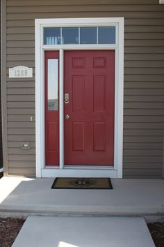 "Our newly painted front door.  Sherwin Williams ""Red Bay"""