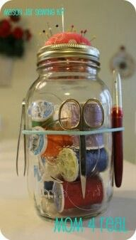 mason jar Sewing kit, gift idea for Mother in law
