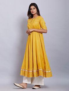 Yellow Cotton Silk Kurta with White Palazzo and Peach Cotton Mul Dupatta - Set of 3 Silk Kurti Designs, Kurta Designs Women, Kurti Designs Party Wear, Dress Designs, Indian Gowns Dresses, Pakistani Dresses, Stylish Dresses, Simple Dresses, Unique Dresses