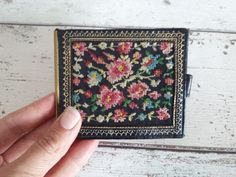 Items similar to SALE Embroidered Antique Leather Billfold // Vintage Floral Embroidered Wallet Coin Purse on Etsy Vintage Floral, Flower Power, Floral Design, Coin Purse, Delicate, Wallet, Antiques, Leather, Crafts