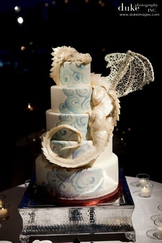 Here there be (hand-sculpted, white chocolate) dragons! By The Butter End Cakery