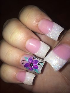 Purple nail design pink and white French
