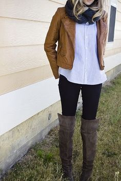 Caramel cropped jacket with oversized button down, loving the extra tall boots with skinnies