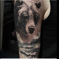 Bear Tattoo Designs for the Rough Individual - Tats 'n' Rings Bear Tattoo<br> A Thorough Gallery of Images for your Bear Tattoo designs and ideas. We Also explore the meaning and history of bear tattoos. Tattoo Son, Tattoo Henna, Back Tattoo, Forest Tattoos, Nature Tattoos, Body Art Tattoos, Tatoos, Black Bear Tattoo, Black And Grey Tattoos