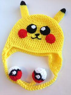 He Sings Over Me: Crochet Pokemon/Pikachu Hat Pattern (Child Size) Bonnet Crochet, Crochet Diy, Crochet Kids Hats, Crochet Beanie, Crochet Scarves, Crochet Crafts, Yarn Crafts, Crochet Projects, Pikachu Hat