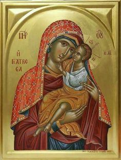 "Theotokos - Modern, Byzantine Orthodox rendition of the miraculous icon of Panagia Giatrissa ""The Healer. Religious Images, Religious Icons, Religious Art, Byzantine Icons, Byzantine Art, Church Icon, La Madone, Christian Artwork, Russian Icons"