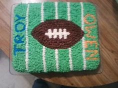 football field with football cake