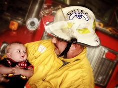 Baby firefighter with his poppy . First day at the firehouse pictures.