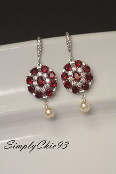 Blood Ruby Bridal Earrings Cubic Zirconia Wedding  by simplychic93