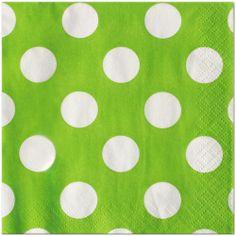 Lime Green Dots Beverage Napkins 16ct #polkadot #polkadotparty
