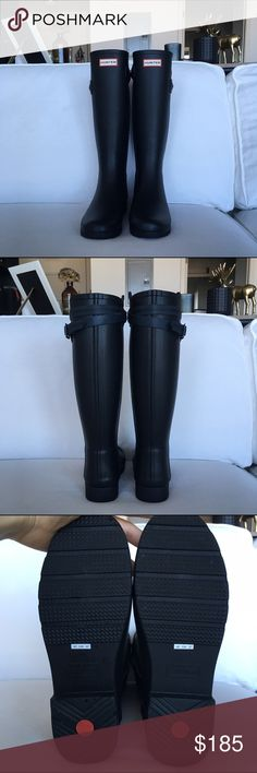 Hunter Original Refined Back Strap Rain Boot GOR-GE-OUS. I think I squealed when I bought them. Unfortunately, I have a love-hate relationship with rain boots, and I never wear them :) Worn once for a couple hours // Typical Hunter fit. ☺️☔️💫 Black with navy and black strap. Sorry, no box, but I'll wrap them up real nice :) Hunter Boots Shoes Winter & Rain Boots