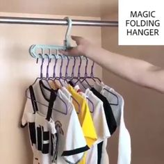 Rotate Anti-skid Folding Hanger / This Rotate Anti-skid Folding Hangers has 9 holes to hang clothes vertically, also effectively anti-skid. And its convenient rotation and folding design could greatly… Clothing Hacks, Clothing Items, Diy Organizer, Closet Organization, Clothing Organization, Organize Clothing, Organizing, Organization Ideas, Closet Rod