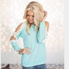 Crochet Mint Knit Top Polyester/Cotton top. Open shoulders with crochet lace detail along arms. 60% Poly 40% Cotton. Please DO NOT purchase this listing. Comment your size below & I'll make a new listing for you. Price is firm unless bundled. Boutique Tops Tees - Long Sleeve
