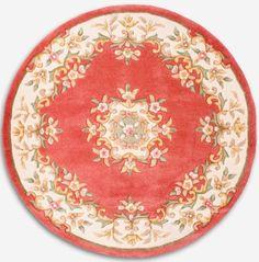 French Victorian Pink Ivory round dollhouse carpet rug. $6.99, via Etsy.