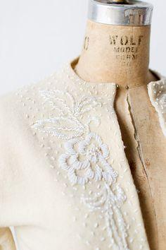 vintage 1950s cream cashmere white beaded cardigan